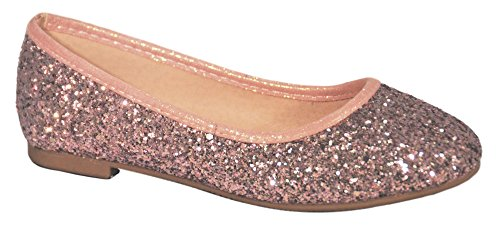 Top Prime Pink Wide Flat Low Heel Glitter Slip On Zapatos De Fiesta para Ninas Pretty Princess Dress Walking Holiday Christmas Party Fashion Flower Girl Shoe for Girl Her Young (Size 3, Pink)