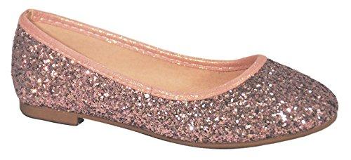 (Top Selling Pink Sparkle Prime Slipon Party Wedding Dress Shoe for Girl Zapato Plateato Para Nina Closed Toe Flat Heel Fun Pretty Elegant Spring Fashion Cute Sandal Kid Children Junior)
