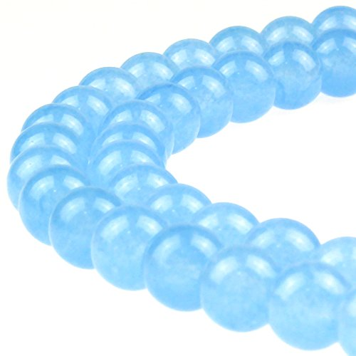 JARTC Stone Beads Aquamarine Color Jade Round Loose Beads for DIY Bracelet Necklace Jewelry Making (8mm)