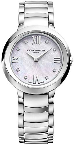 Baume & Mercier Promesse Womens Stainless Steel Diamond Watch - Classic 30mm Analog Mother of Pearl Face Ladies Watch with Sapphire Crystal - Swiss Made Quartz Luxury Dress Watches For - Crystal Et Bracelet Mercier Baume