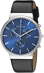 Skagen Men's SKW6105 Ancher Stainless Steel Watch with Black Leather Band