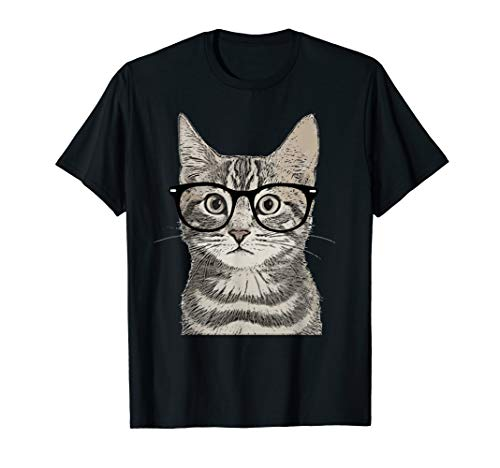 Hipster Cat Kitten Spectacles Eye Glasses Funny Cute T-Shirt