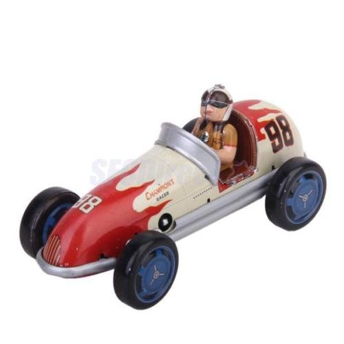 Shalleen Vintage Wind up tin toy Racing race Car racer driver clockwork mechanical - Make Tintin Costume