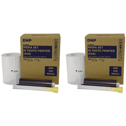 DNP 2x 4x6'' Paper and Ink Roll Media Set for IDW500 ID Photo Printer, 350 Prints