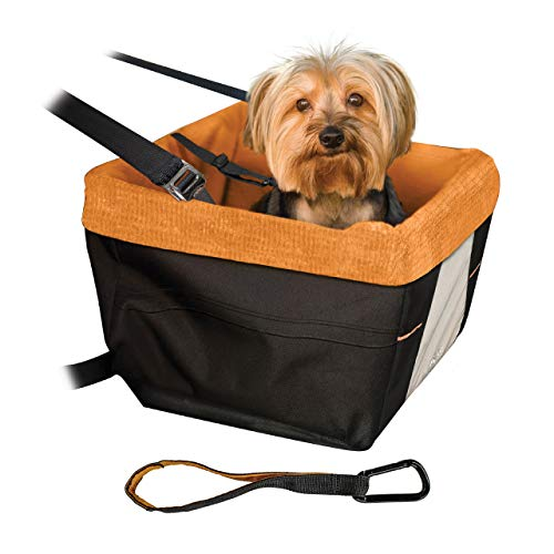 Kurgo Skybox Car Booster Seat for Dogs   Dog Seat for Cars   Waterproof Exterior   Helps with Canine Car Sickness   for Small Petsup to 30 lb   Dog Seatbelt Tether Included   Black/Orange