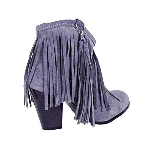 Tacco Scarpe con YE Eleganti Stivali Le Donna Cono a 8cm Grigio Frange Camoscio qZWwn1AwFE
