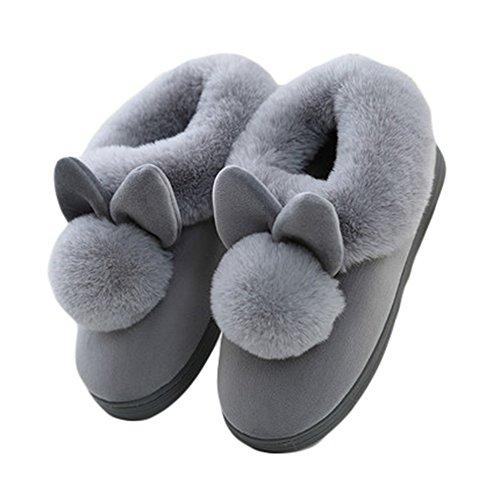 Ciabatte Inverno Carino Morbido Peluche Casa Calda Pantofole Per Le Donne Antiscivolo Scarpe Grigie