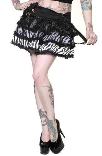 Hot Living Dead Souls ZEBRA TIER SKIRT in Choice of Colors for sale