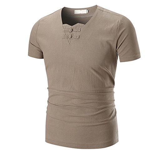 Price comparison product image Pocciol Men Summer Casual O Neck Pullover Short Sleeve Special Linen Gentlemen Handsome Soft T-Shirt Top Blouse (Khaki, L)