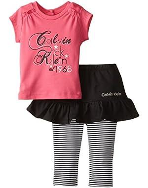 Baby Girls' Dark Pink Top and Skegging Set