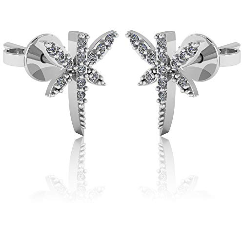 .925 Sterling Silver & Pavé-Set Cubic Zirconia Petite Stud Earrings - Dragonfly ()