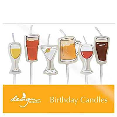 "Design Design 757-07883 Beer and Cocktails Birthday Candles, 1 x 2 3/4"", Multicolor: Kitchen & Dining"