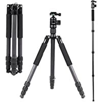Andoer 67inch/170cm Carbon Fiber Lightweight Foldable Portable Camera/Video Tripod Monopod with 360 Degree Ball Head for Canon Nikon Pentax Sony DSLR Camera