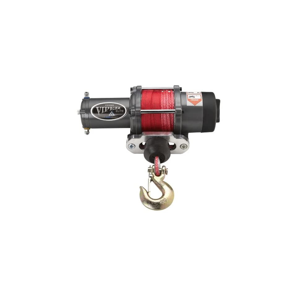 Viper Elite 5000lb UTV Winch & Custom Mount for Polaris Ranger RZR (please see fitment) with RED AmSteel® Blue Synthetic Rope