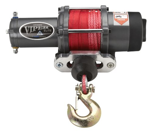 VIPER Elite 6000lb ATV/UTV Winch with 40 feet RED AmSteel-Blue Synthetic Rope (Amsteel Blue Winch)