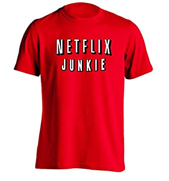 Netflix junkie mens custom t shirt printing for Amazon custom t shirts