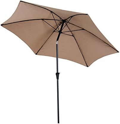 Outsunny 10 Aluminum Outdoor Patio Umbrella with Tilt and Crank - Light Brown
