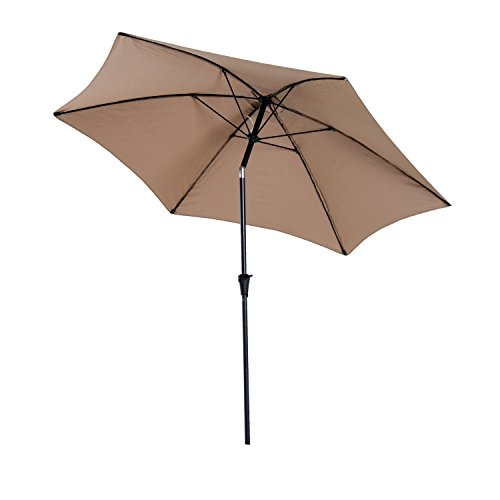 Outsunny 10 Aluminum Outdoor Patio Umbrella with Tilt and Crank – Light Brown