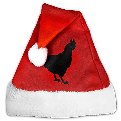Hen Chicken Fowl Bird Christmas Santa Hat Economical Traditional Red&White Xmas Santa Claus' Cap for Holiday Party -