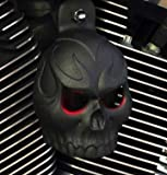 Textured Black Powder Coat Evil Twin Skull Horn Cover with LED Eyes (Orange)