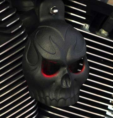 Textured Black Powder Coat Evil Twin Skull Horn Cover with LED Eyes (Red)