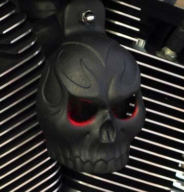 Cover Skull Horn (Textured Black Powder Coat Evil Twin Skull Horn Cover with LED Eyes (Blue))