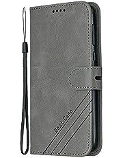 Hoesje voor Moto G6 Wallet Book Case, Magneet Flip Wallet Slim Beschermende Telefoonhoes met Kaarthouders slots Robuuste schokbestendige Bookcase voor Motorola Moto G6 / Moto 1S - JEHX010534 grijs