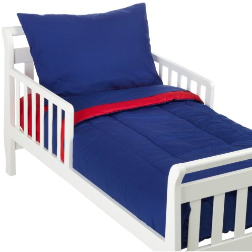 - American Baby Company 100% Cotton Percale 4-Piece Toddler Bedding Set, Red/Royal, for Boys