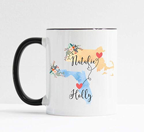 Custom Best Friend Gift Best Friend Mug Two State Mug (Best Friend State Mugs)
