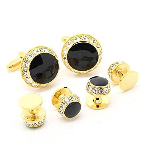 Engraved Stud Cufflinks - SunShine Day Cufflink Set Gold and Rhinestone Cufflinks Tuxedo Stud Sets (Ordinary Box)