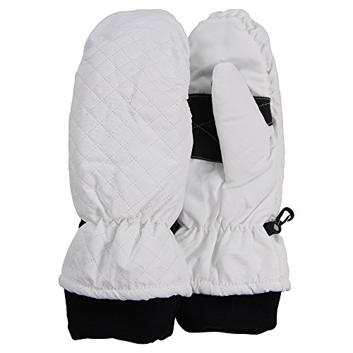 Women's Thinsulate Lined Quilted Winter Mittens (with Glove Lining) (White, Large) (Quilted Mittens)