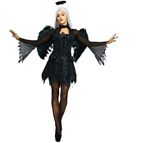Halloween Angel Dark (Women Fallen Angel Dress Dark Evil Costume,)