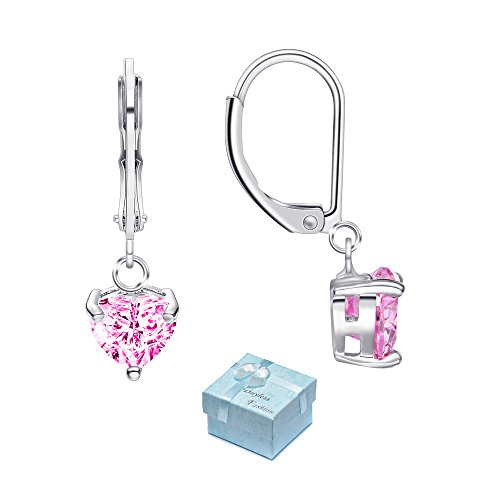 Buyless Fashion Hypoallergenic Surgical Steel Leverback Earring with Dangle Heart CZ (Pink Sparkling Heart)