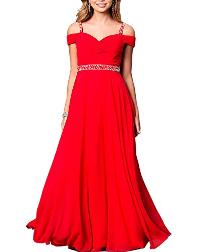 Roiii Women Cleb Prom Formal Casual Party Cocktail Wedding Evening Sleeveless Ruched Neck High Waist Chiffon Plus Size Dress (XL, Red)