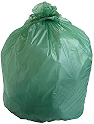 """Trash Can Liners, Biodegradable, Low Density, 43"""" Width x 47"""" Length, 1.2 Mil, Green (Pa"""