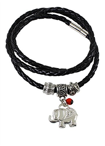(Peruvian Gift Elephant Charm Leather Bracelet/Necklace for Women - Meaningful Good Luck, Prosperity, Love, Happiness Huayruro Red Seeds, Elephant Gift Charm - Eco Jewelry by Evelyn Brooks)