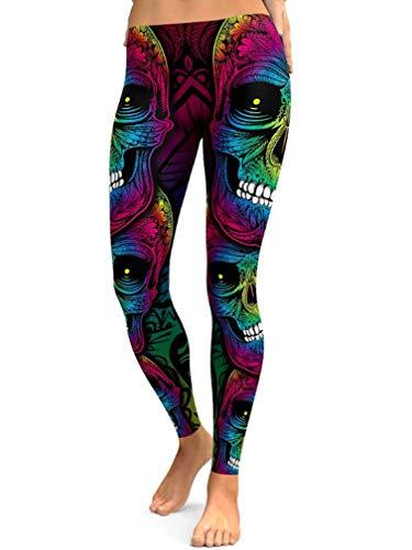 Maxi Women's Halloween Sugar Skeleton Skull Pattern Print Costumes Leggings Ankle Length Tights Capris Pants