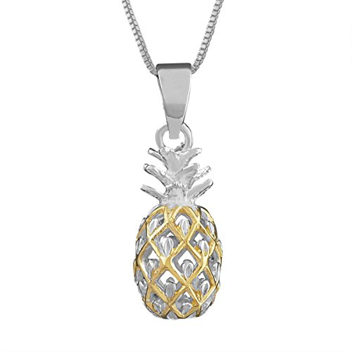 Sterling Silver with 14kt Yellow Gold Plated Accents Small Pineapple Pendant Necklace, 16+2 Extender