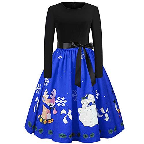 Women Christmas Skirt Duseedik Elegant Xmas Print Vintage Tea Hepburn Mini Dress Ball Gown Dress