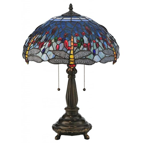 Meyda Tiffany 119650 Tiffany Hanging Head Dragonfly Table Lamp, 22 H