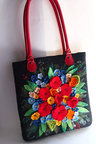 Felted floral tote bag for women, Floral handbag, Floral shoulder bag, Flower handbag, Floral tote handbag, Floral bag, Floral purse,ready to ship ()