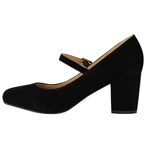 Womens Mary Strap Heel Block Black Suede Size Thirsty Jane Fashion Work Formal Dolly Pumps Office Faux Mid Shoes S5v4XIq