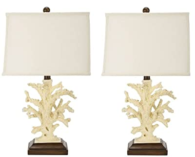 Safavieh Lighting Collection Key West Cream Coral 21-inch Table Lamp (Set of 2)
