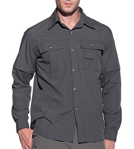 EKLENTSON Men's Field Shirt Quick Dry Climbing Shirts Button Down Water Resistant Convertible T Shirt Gray,Gray,X-Large / Tag XXL