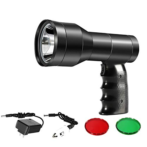GearOZ Hunting Spotlight Kit, Rechargeable Handheld Hunting Scan Light-LED White Light Red Dot Sight for Aiming Targets Red Green Lens for Scanning Coyotes Predators Coons Varmints Hogs