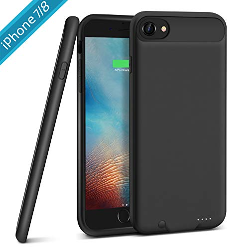 Battery Case for iPhone 7/8, XchuangX 3000mAh Rechargeable Protective Charging Case Slim for Apple iPhone 7/8 (4.7 inch), Support All Types Headphones, Answer Call and Sync-Through-Black