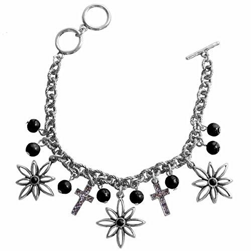 Flower Cross Faith Gear Women's Silver Christian Bracelet