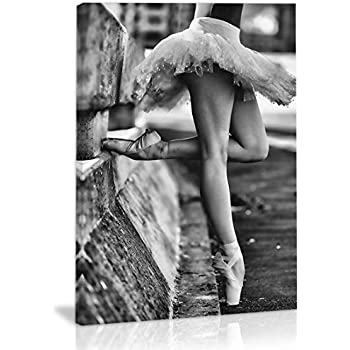 Black and White Ballet Dance Girl Wall Art Decor Canvas Painting Kitchen Prints Pictures for Home Living Dining Room