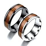 Aooaz Jewelry Wedding Rings for Men Couples Ring for Her Wooden Pattern Wood
