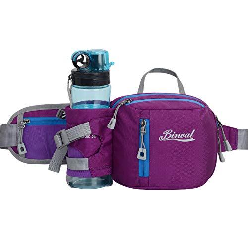 Binval Hiking Waist Bag Fanny Pack with Water Bottle Holder, Great for Hiking, Walking, Biking, Running, Travel, More, Lightweight Fannie Hip Bag Lumbar Pack for Men and Women